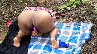 Mature Telegu village wife dildoing pussy in open