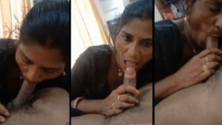 Indian village Bhabhi giving blowjob to her lover