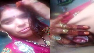 Rajasthani village wife pink pussy show